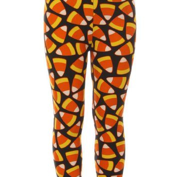 Girl's Candy Corn Orange Yellow Pattern Printed Leggings