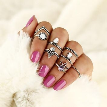 Eight Piece Set Bohemian Vintage Style Rings Set Boho Stackable Midi Finger