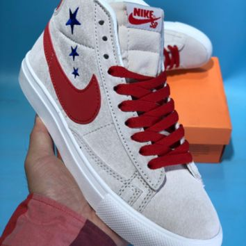 kuyou N761 Nike Blazer Low 1 SB Suede High Skate Shoes Grey Red