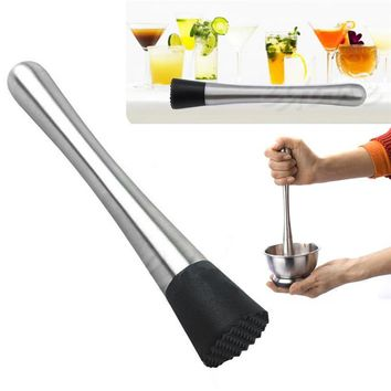 Stainless Steel Cocktail Muddler & Bar Mixer Barware Drinking DIY Drink Fruit Pestles Crushed Muddler Bar Tool