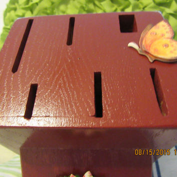 Up-Cycled Cottage Chic Tuscan Red Wooden Knife Block With Flower and Butterfly Accents