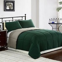 3pc Reversible Goose Down Alternative Comforter Set Green/Sage Twin,Queen,King