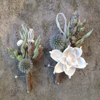 Custom Boutonnieres for (sjelinic), Sola Flower, Globe Thistles, Lavender, Tallow berries, Oregano, Oats, Lace, Burlap, Twine