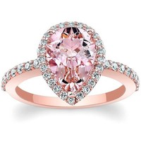 Barkev's Pear Cut Morganite Halo Diamond Engagement Ring