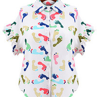 Ruffle Sleeve White Blouse with Multi Colored Footprint Print Detail