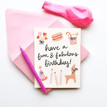 Fun and Fabulous Birthday illustrated drawing card pastels candles retro chic calligraphy handwriting macaroon pinata floral feminine pink