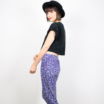 Vintage Purple Teal White Polka Dot Pants Harem Pants Skinny Pants Work Out Crop Cropped Pants 1980s 80s New Wave Mod Slouchy Pants S Small