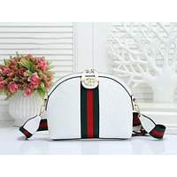 GUCCI Fashion New Stripe More Letter Leather Shopping Leisure Shoulder Bag Women White