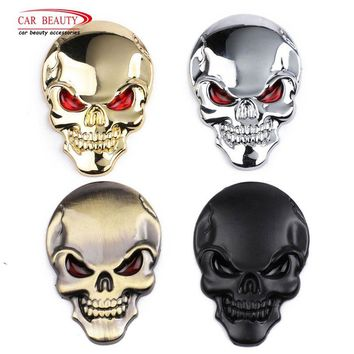 Halloween 3D Metal Skull Car Sticker Cool Motorcycle Truck Emblem Decals Racing Badge Auto Decoration Car Styling Accessories