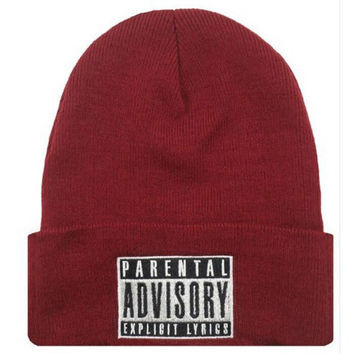 PARENTAL ADVISORY EXPLICIT LYRICS Beanie Wool Knitted Winter Womens & Mens Red Cuffed Skully Hat