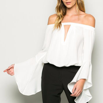Off Shoulder Bell Sleeve Top - White