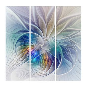 Floral Fantasy, abstract and modern Fractal Art Triptych