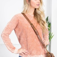 Cotton Ribbed Fall Sweater | Pink
