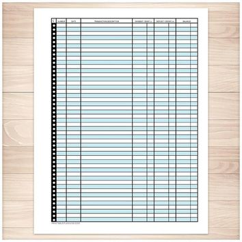 Financial Transaction Register in Blue - Full Page - Printable