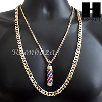 "MEN ICED OUT GOLD BARBER SHOP POLE CHARM CUT 30"" CUBAN LINK CHAIN NECKLACE S078G"