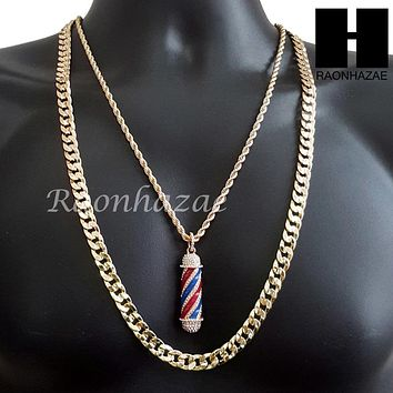 "MEN GOLD BARBER SHOP POLE CHARM CUT 30"" CUBAN LINK CHAIN NECKLACE S078G"