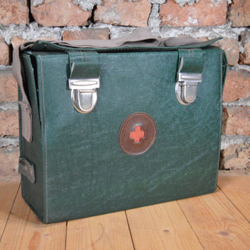 Vintage first aid military bag, red cross military bag, Military Bag Army Field Large Bag green army bag