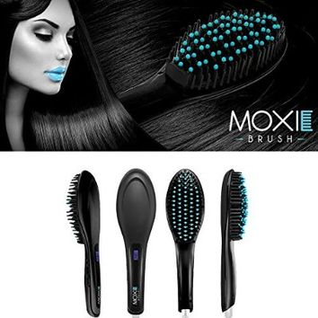 Moxie Brush hairbrush (Black) Electric Ceramic Hair Straightening Brush, LCD, (US Plug)