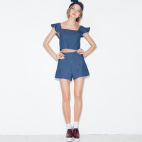 Denim Square Neck Ruffled Sleeve Cropped Top