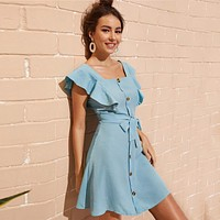 Button Front Self Tie Shirt Mini Dress Women Cute Square Neck Solid Dress High Waist Ruffle Trim Short Dress