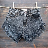 cheeky high waisted shorts - black distressed acid wash