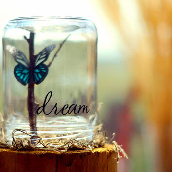 Dream |  Inspirational her |Butterfly gift | College graduation gift | College dorm decor | Gifts for teens | Going away gift