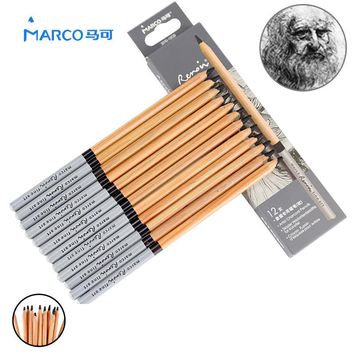 Marco 12 Pcs Drawing Sketching Pencil Charcoal Pen Set Non-toxic Standard Pencils Professional Drawing Pencil Set Art Supplies