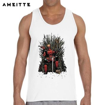2018 Fashion Game of thrones Deadpool Tank Top Men's White Printed Sleeveless T Shirts Summer Fitness Male Vest Tops singlets