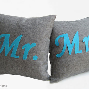 2 Pieces Set. Mr Mrs Dark Grey Turquoise Burlap Pillow Covers Set. Wedding Gift. Rusting Pillow Wedding Decor