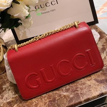 GUCCI Alphabetic Chain Square Bag Single Shoulder Slant Bag