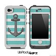 Aqua Green Vintage Anchor Skin for the iPhone 5 or 4/4s LifeProof Case