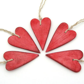 Red heart Valentine clay ornament, gift tag, air dry clay, home decoration, rustic shabby chic textured, love, cottage style, set of 5