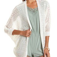 Open Knit Cocoon Cardigan by Charlotte Russe