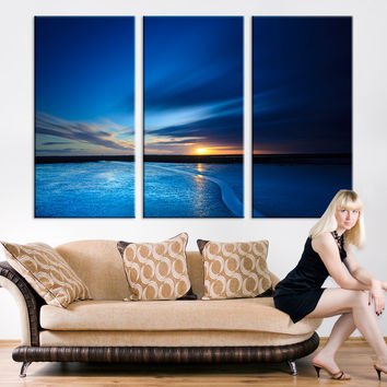 Large Wall Art - Navy Blue Night at Beach, Blue Night Ocean Sunset - Large Wall Art Canvas Print Ocean