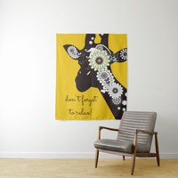 Funky Cool Paisley Giraffe Funny Animal Yellow Tapestry