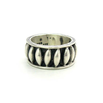 Mens Sterling Silver Ring. Thick Cigar Band. Taxco 925.Geometric, Black Oxidized. Vintage 1980s Mexican Jewelry Big & Bold. SZ 10 Unisex
