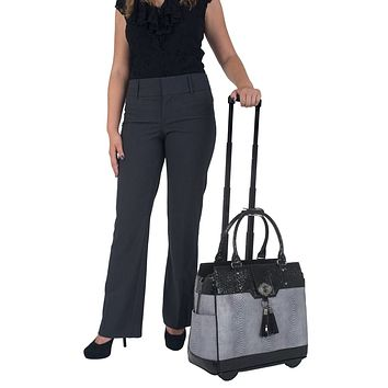 """THE VERONA"" Python and Alligator Rolling Laptop Tote Holdall or Weekender Bag"