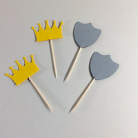 Crown and Shields cupcake toppers. Yellow & Grey, Shield party pick, Crown Baby shower partypicks, Birthday crown cake toppers, 12 per order