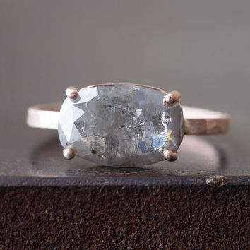 Natural Silver- Grey Rose Cut Diamond Ring