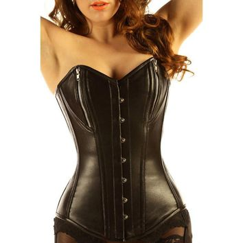 FGirl Gothic Women Corset Pure Leather 14 Steel Boned Zipper Basque Steampunk Clothing Corselet Corsets and Bustiers FG30813