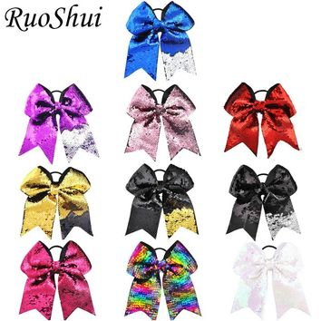 8 inch 10pcs/lot Rainbow Sequin Mermaid Ribbon Big Large Bow Elastic Hair Band Cheerleading Girls Hair Accessories