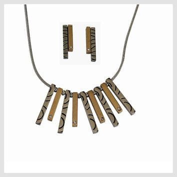 "Multi-tone Necklace 20"" with Matching Earrings"