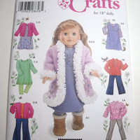 New Simplicity Pattern American Girl Doll clothes 18 inch doll coat dress pants tops jackets leggings