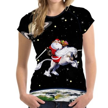 Christmas Gift Santa Claus Print Women T Shirt Fashion Galaxy Female Tshirts Brand Designer Short Sleeved Top Crops