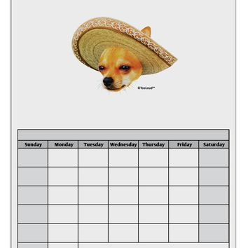 Chihuahua Dog with Sombrero - Patchwork Design Blank Calendar Dry Erase Board by TooLoud
