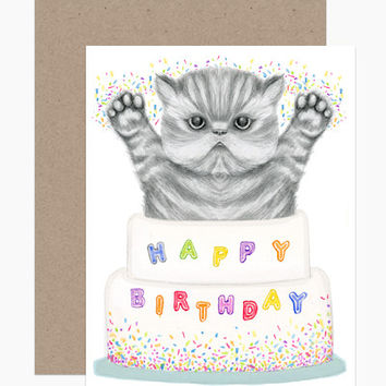 Happy Birthday Kitten Cake Card