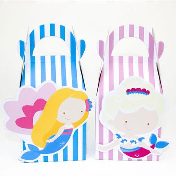 Little Mermaid Favor Box Candy Box Gift Box Kids Birthday Party Supplies Decoration Event Party Supplies