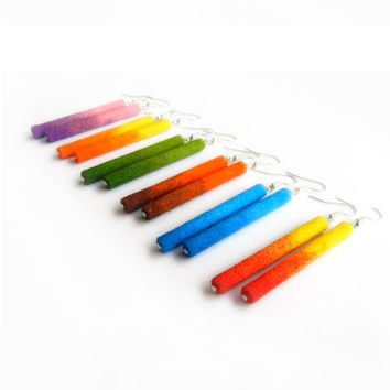 Colorful ombre paper and sand dangle stick earrings handmade choose your color