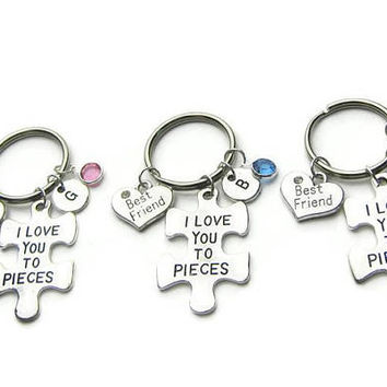 3 I Love You To Pieces Keychains, 3 Best Friends Keychains , Best Friends Keychains, BFF Keychains, Friends Keychains, Personalized