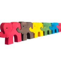 Jigsaw Puzzle Elephants, Educational Toy for Kids, Montessori Toy, Wooden Puzzle, Brain Teaser, Handmade Toy, Toddler Gift, Easter Gift